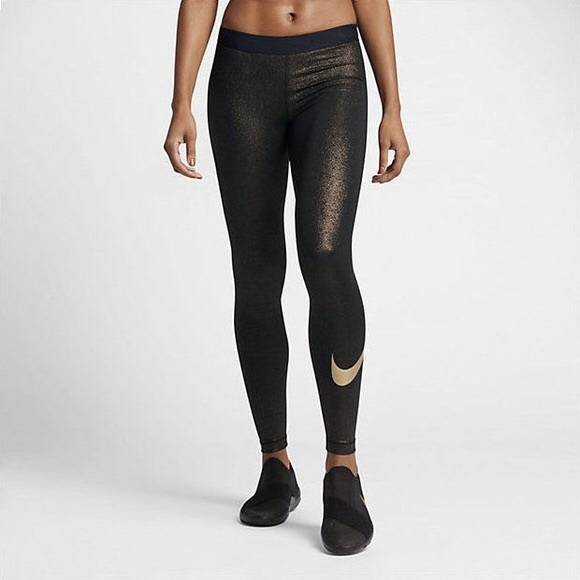 NWT Nike Pro Cool Gold Glitter Leggings 70a554a72